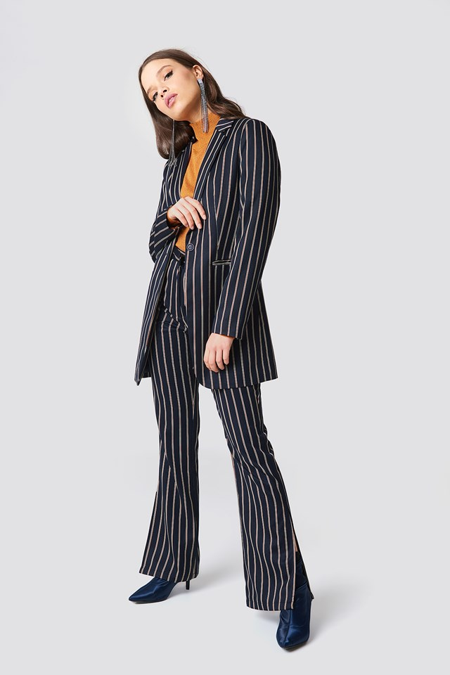 Striped Suit with Mesh Top