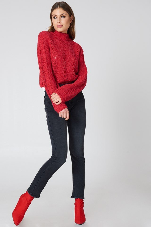 Red Sweater and Jeans Outfit.