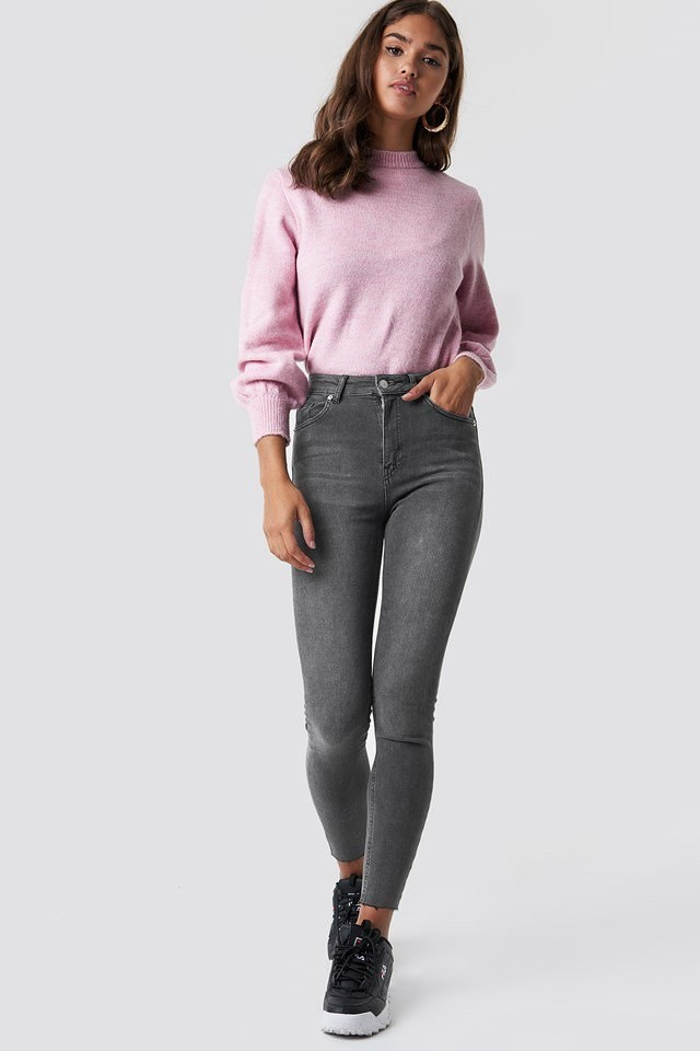 Grey Jeans with Sweater Outfit.