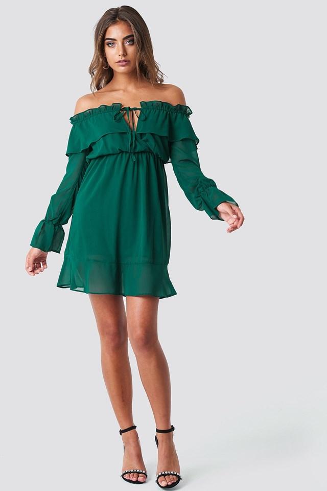 Off Shoulder Short Frill Dress Outfit