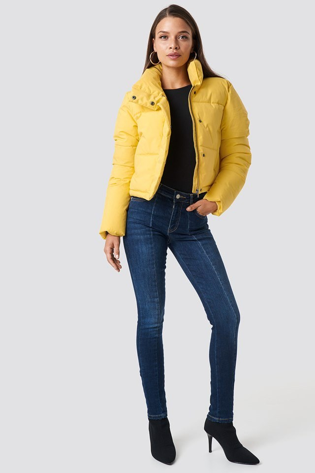 Yellow Puffy Jacket Outfit