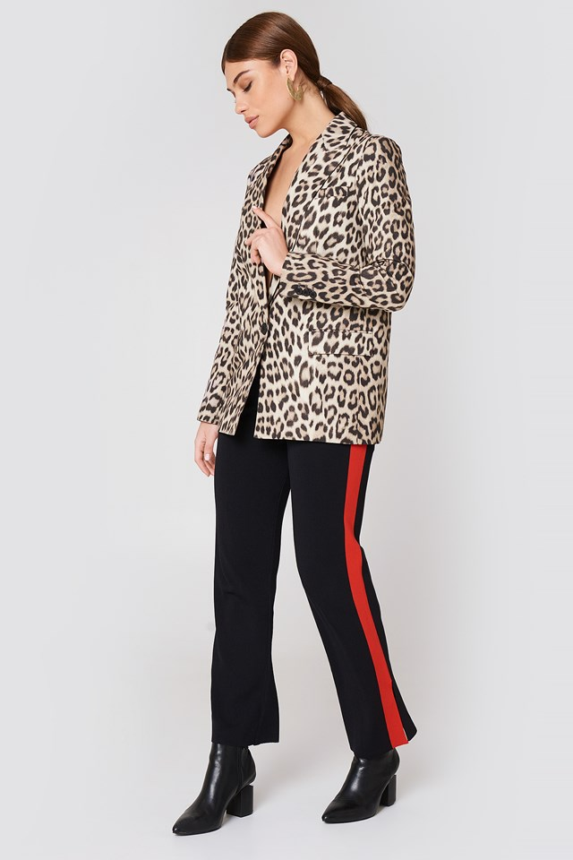 Leopard Jacket with Striped Pants