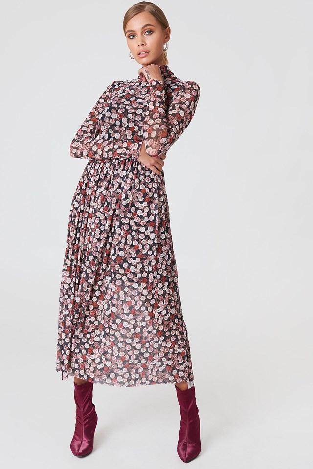 High neck flowered dress