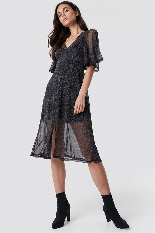 Sparkly Midi Dress Outfit