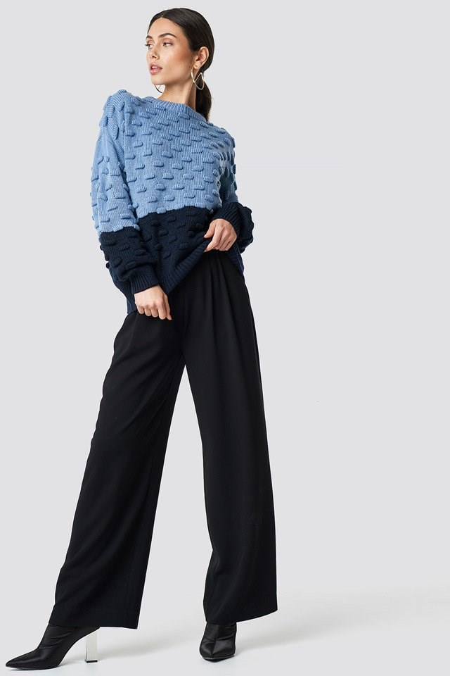 Double Blue Knit and Pants Outfit