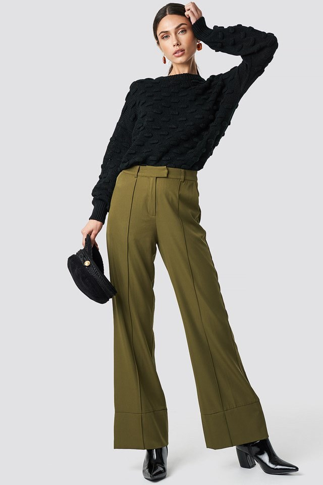 Black Detailed Knit X Green Pant Outfit