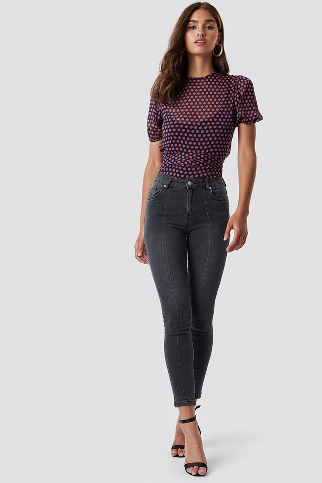Skinny Mid Waist Front Panel Jeans