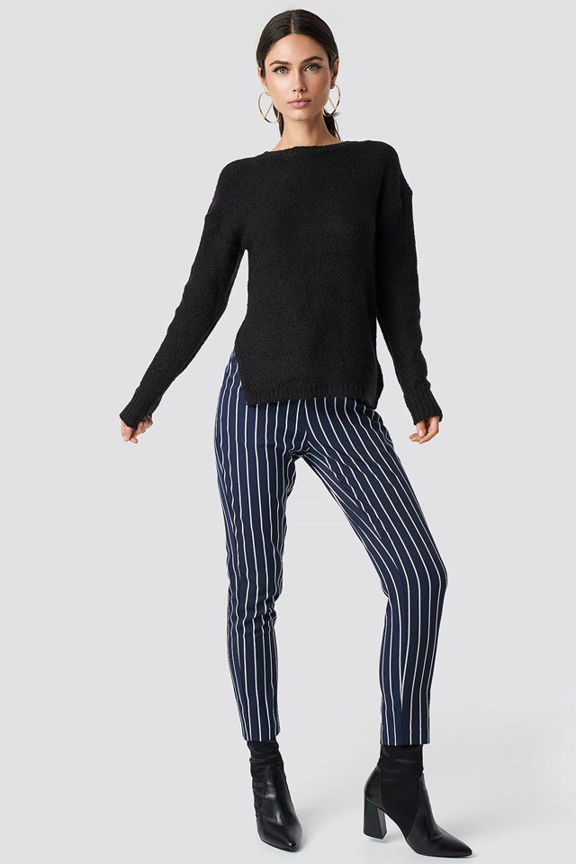 Slit Knit Striped Pant Outfit