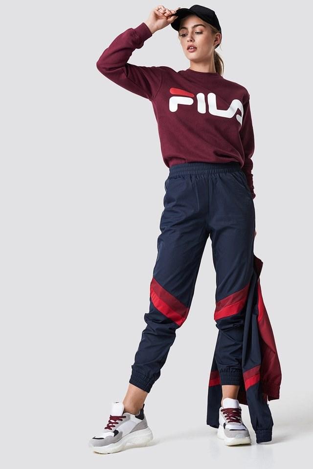 Purple FILA Sweat Suit Outfit