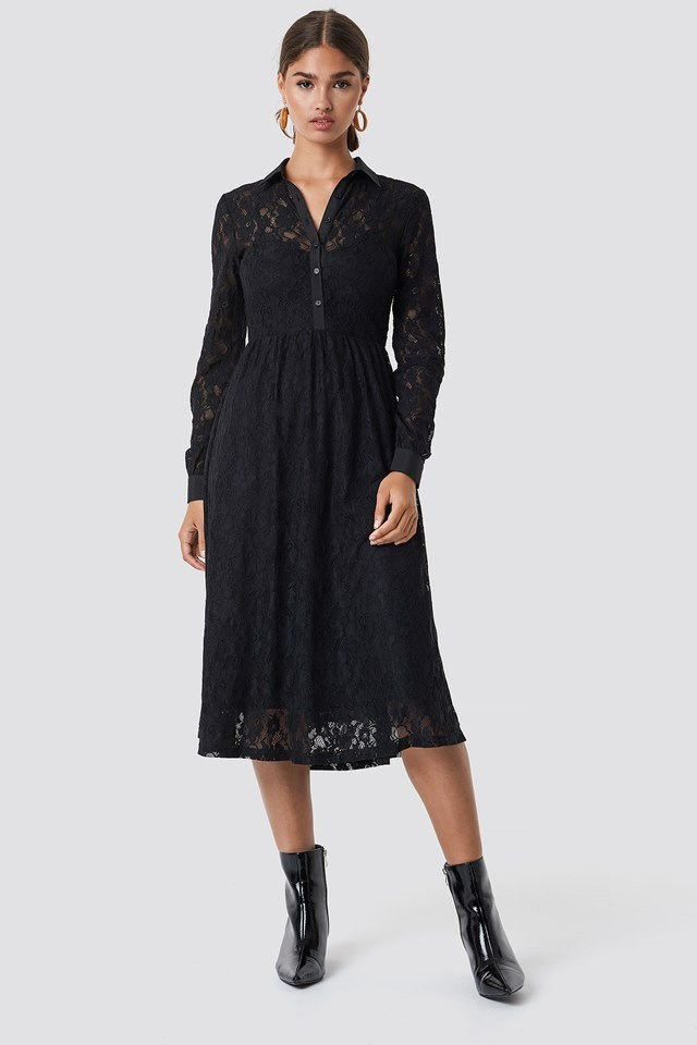 Black Sleeved Lace Midi Dress Outfit
