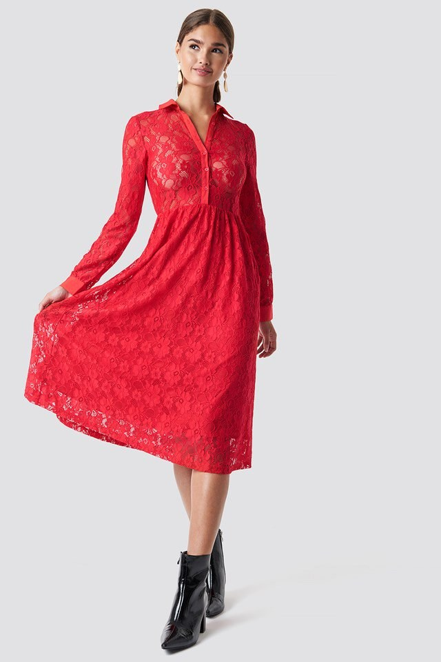Red Lace Sleeved Midi Dress Outfit