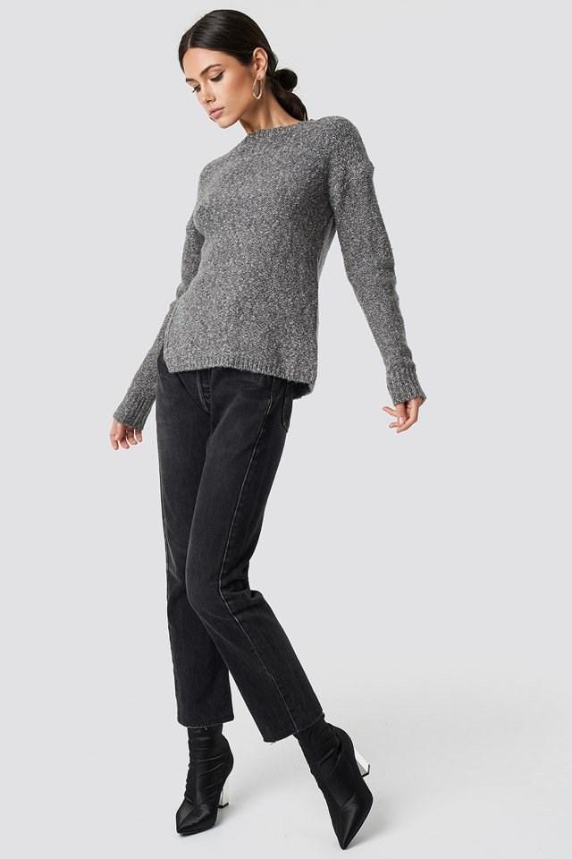 Grey Slit Knit X Denim Outfit