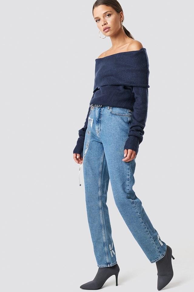Navy Off Shoulder Knit X Denim Outfit