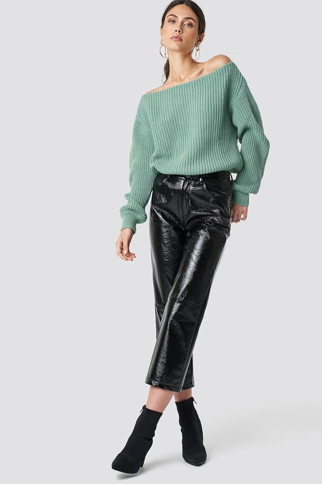 Green Off the Shoulder Knit X Leather Outfit