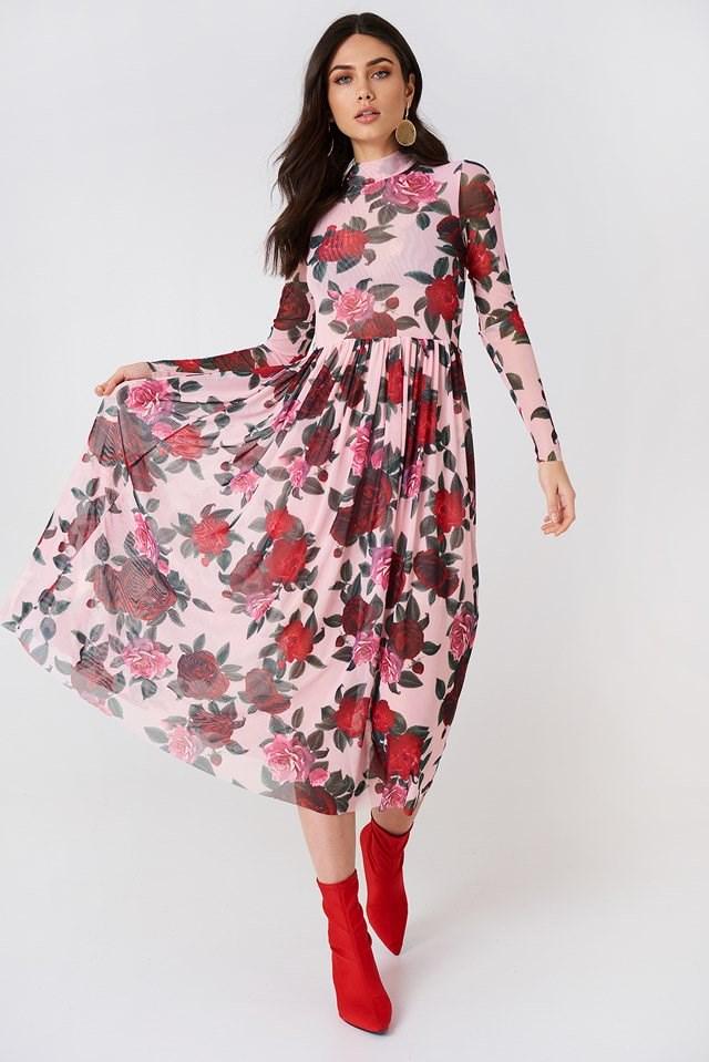 Mesh LS Midi Dress
