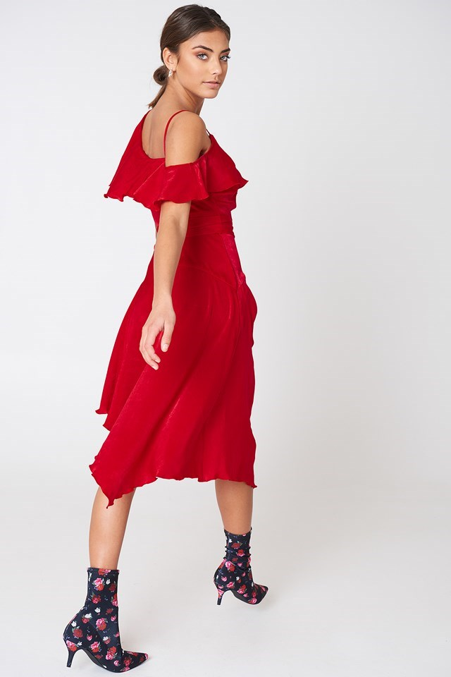 Asymmetric Wrap Frill Dress