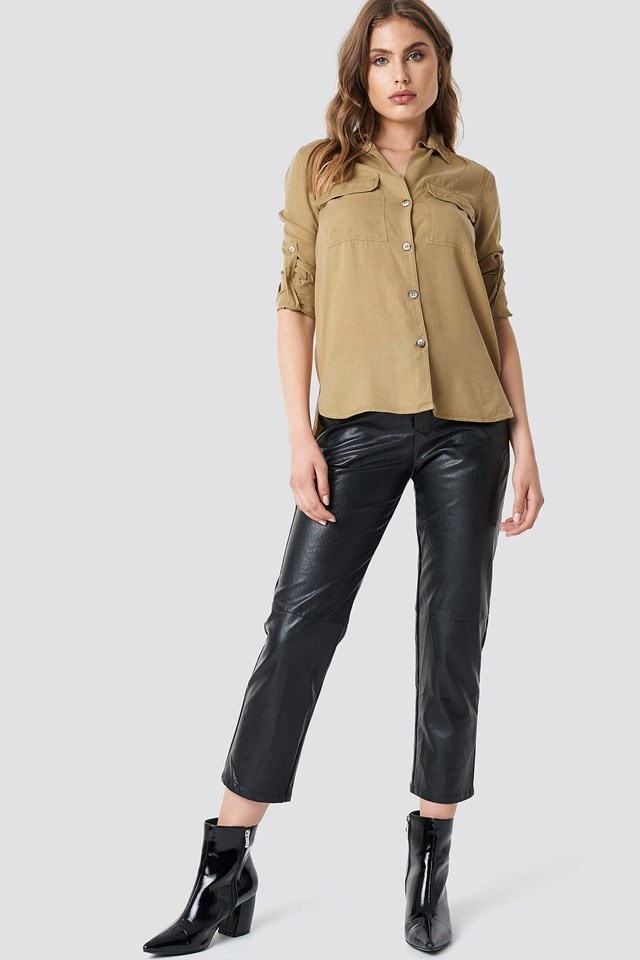 Beige Button Up X Leather Pant Outfit