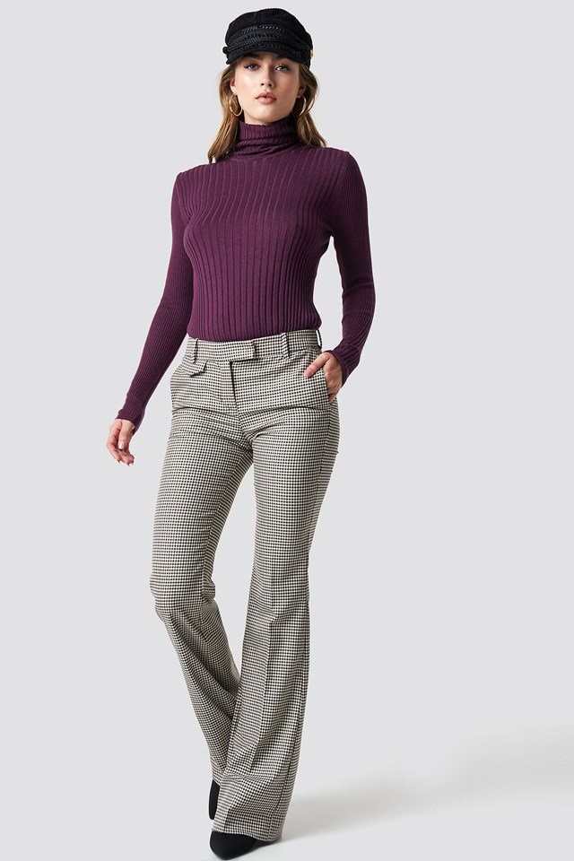 Purple Tight Knit X Checkered Pant Outfit