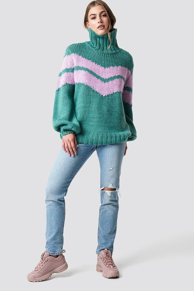 Green X Pink Knitted Outfit