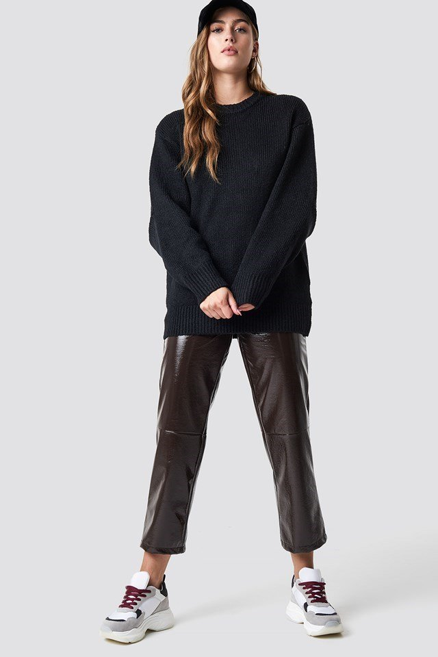 Knit, Leather, and Cap Outfit