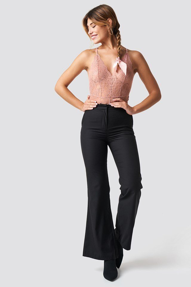 Pink Lace Bodysuit X Pant Outfit