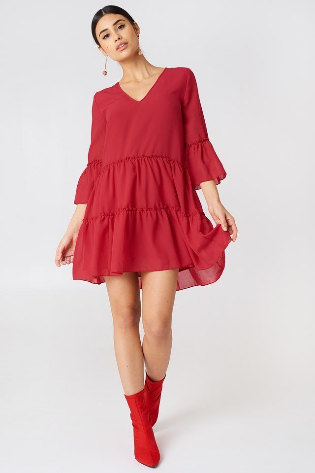 V-Neck Ruffle Mini Dress