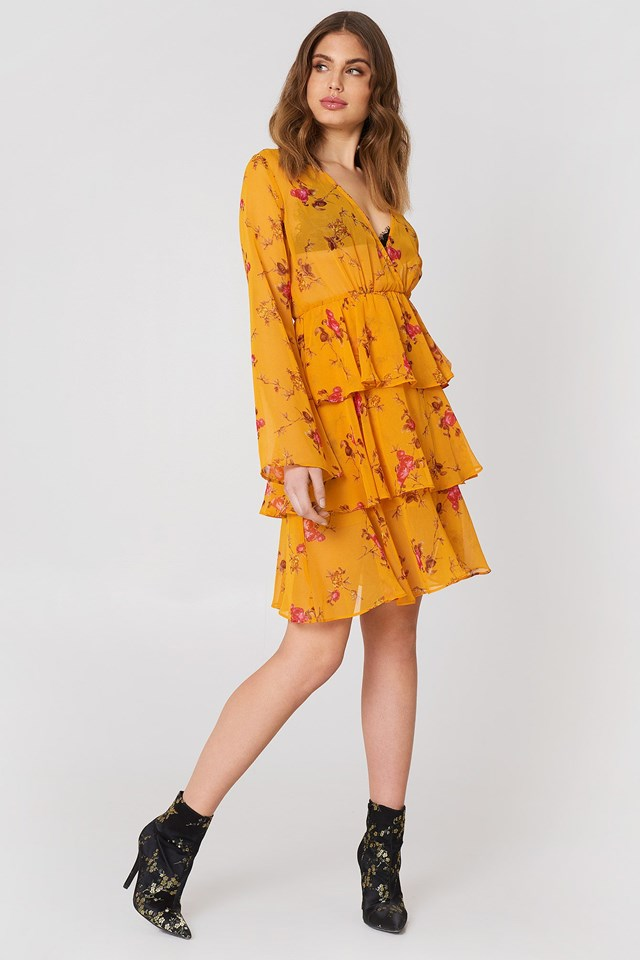 Triple Layer LS Flounce Dress