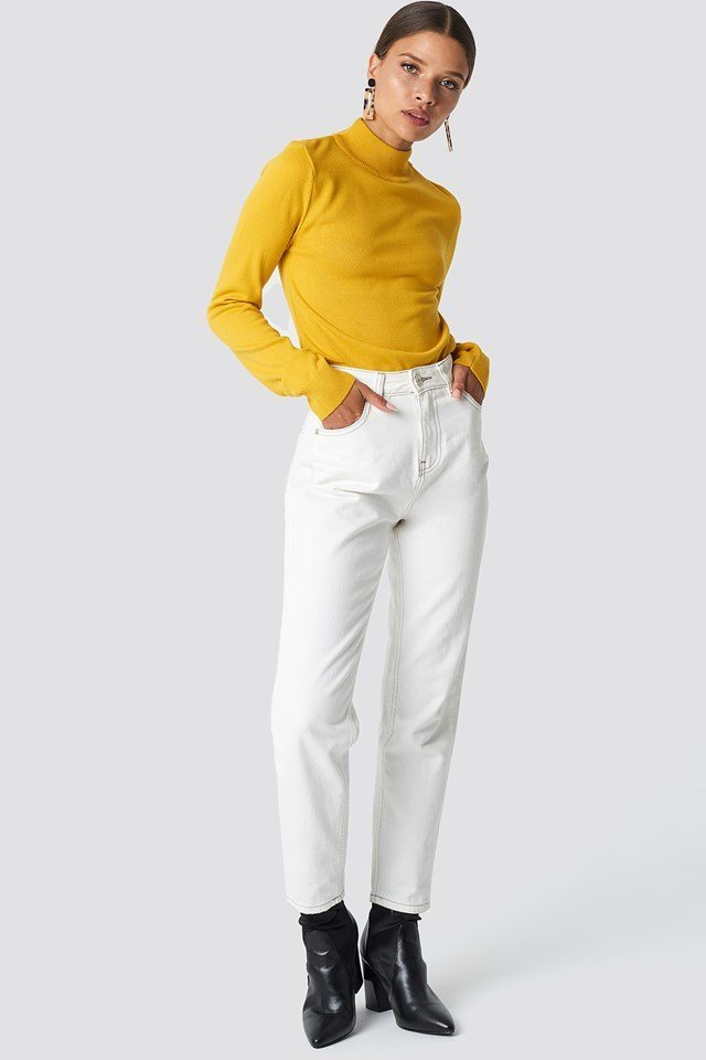 Yellow Knit X White Pant Outfit