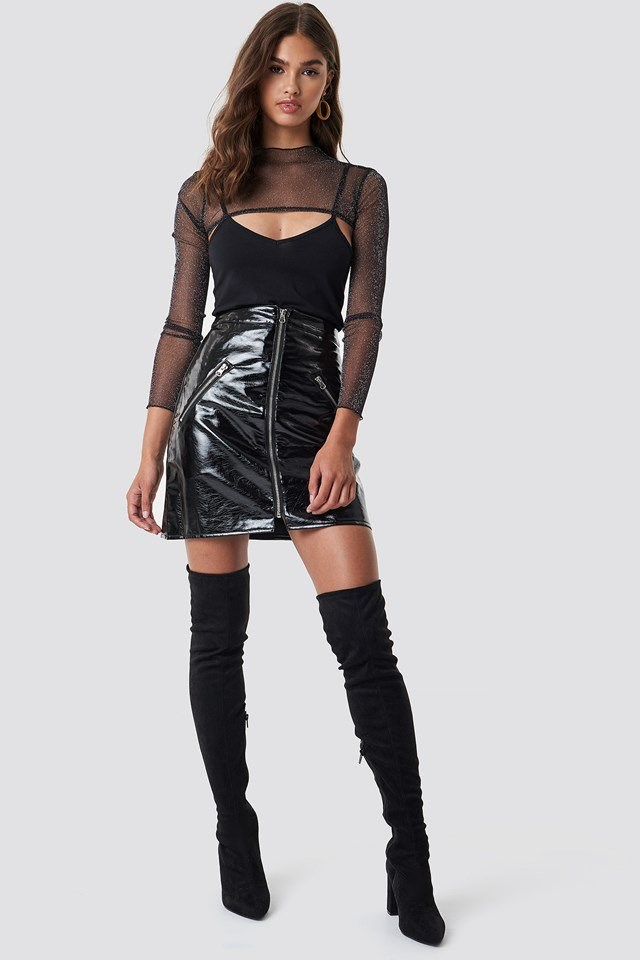 Glittery Mesh X PU Leather Outfit