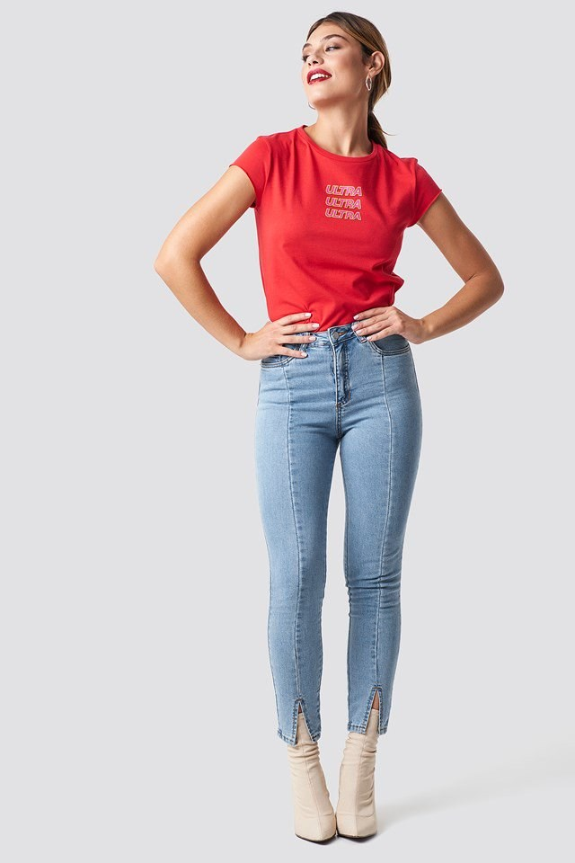 Red Ultra Tee and Denim Outfit