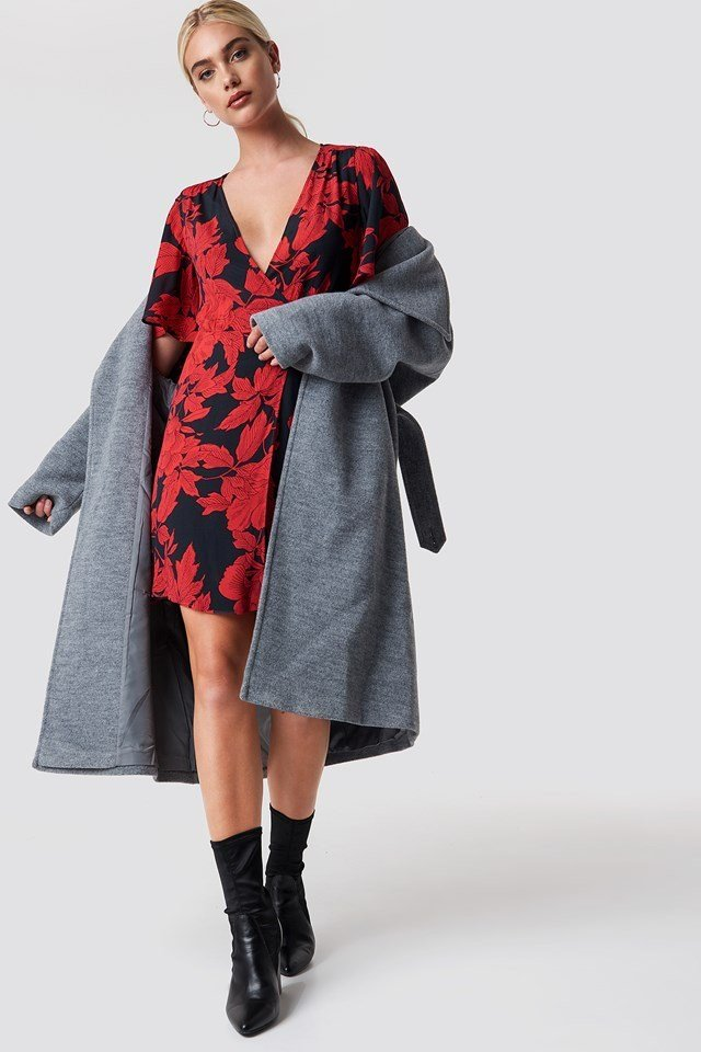 Red and Black Floral Dress Outfit