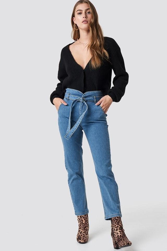 Tie Waist Denim Pants Outfit