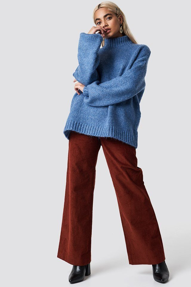 Blue Knit X Red Pant Outfit