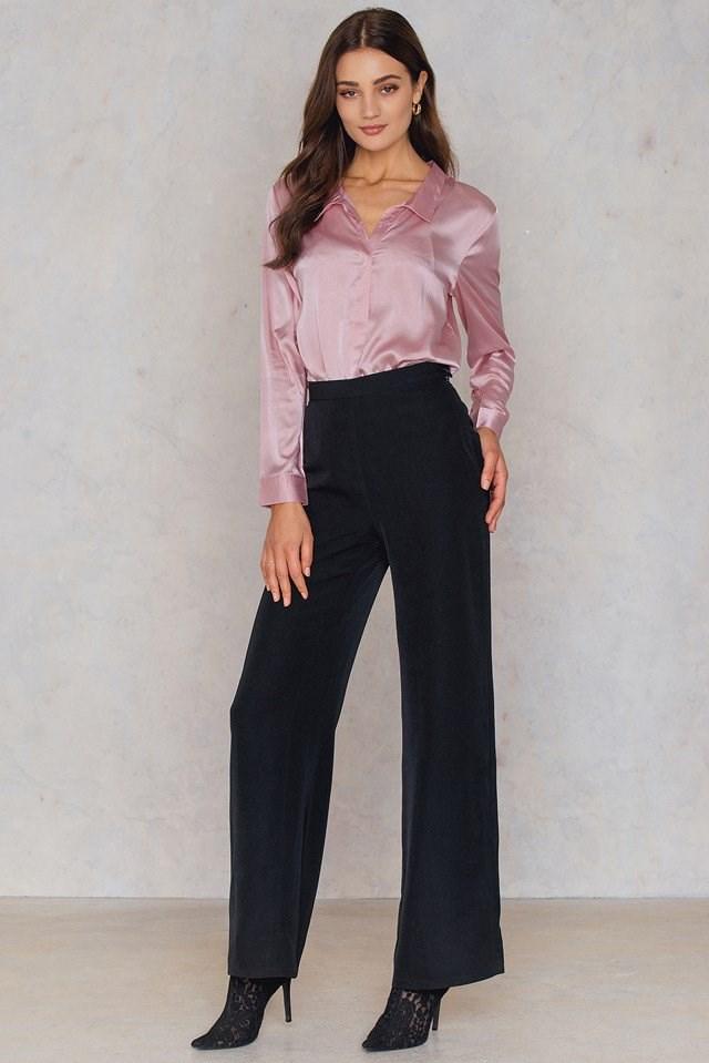 Pink Satin Shirt Outfit