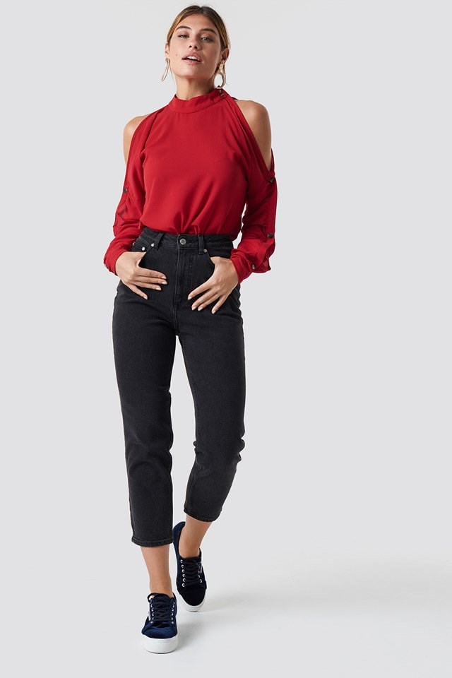 Red Sleeve Detailed Blouse Outfit