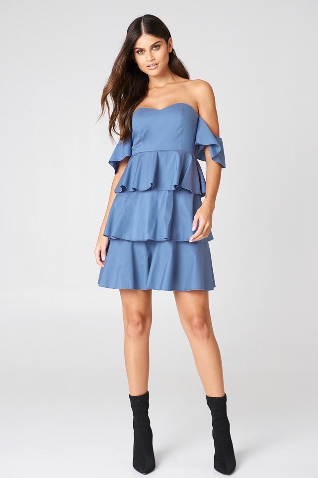 Off Shoulder Mini Flounce Dress