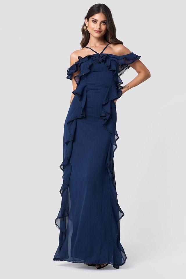 Halter Strap Frill Maxi Dress