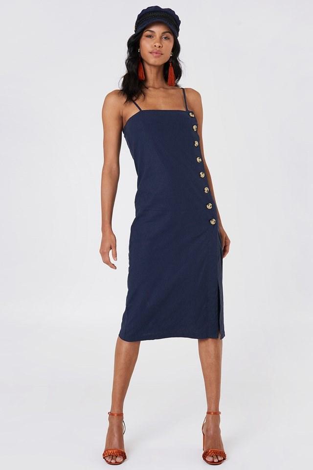 Button Slip Linen Look Dress