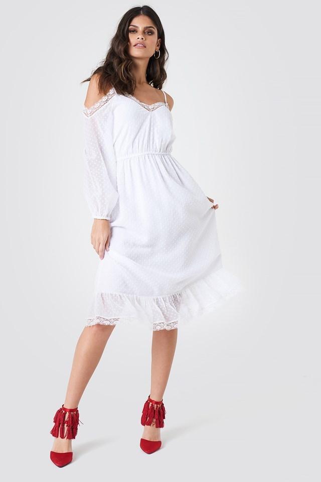 Swiss Dot Cold Shoulder Dress