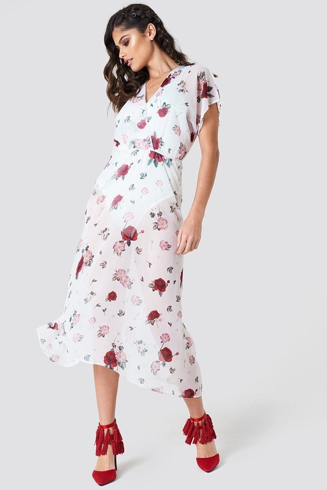 Sheer Kimono Sleeve Dress