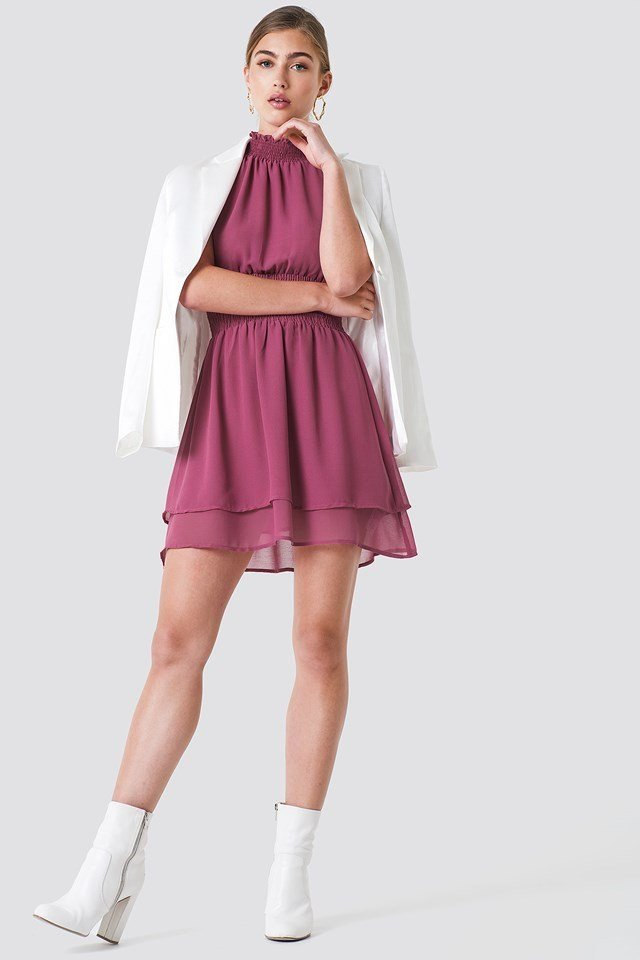 High Neck Double Layer Smock Dress