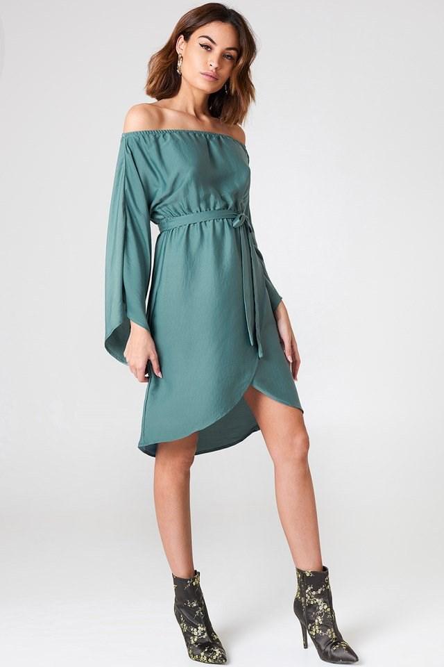 Off Shoulder Kimono Sleeve Dress