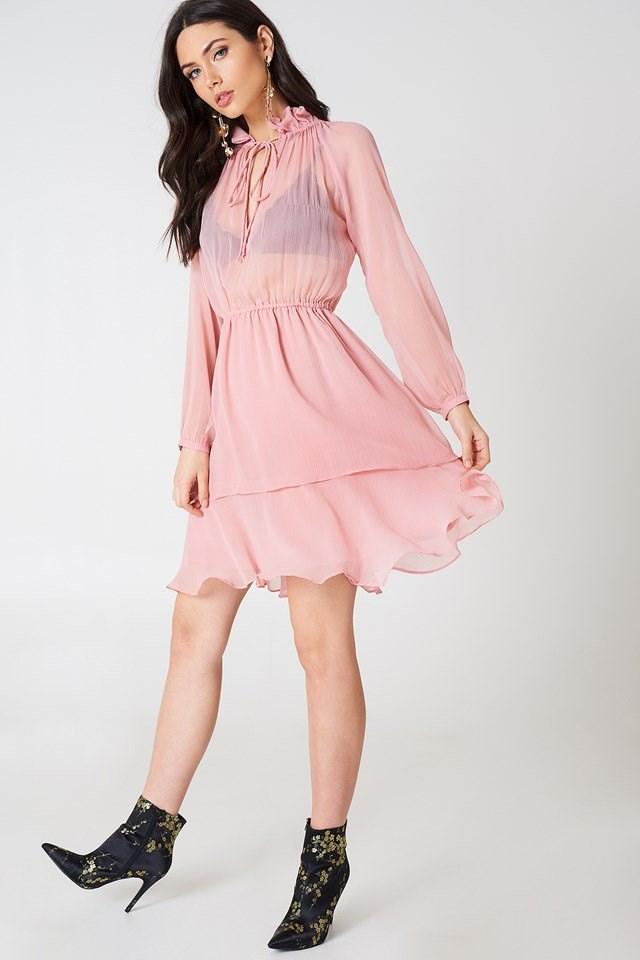 High Frill Neck Dress