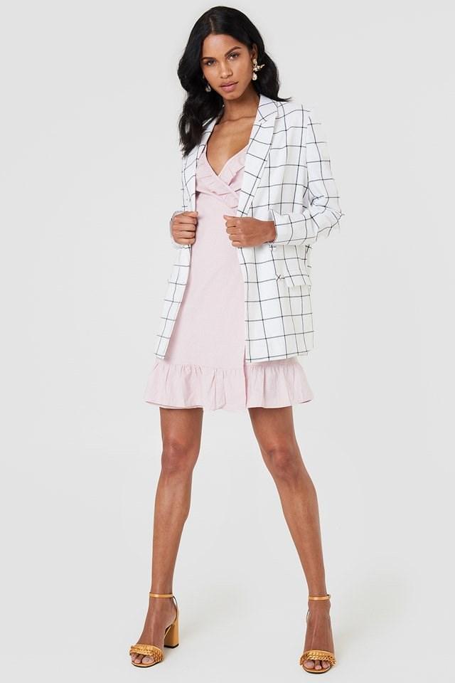 Wrap Over Frill Linen Look Dress