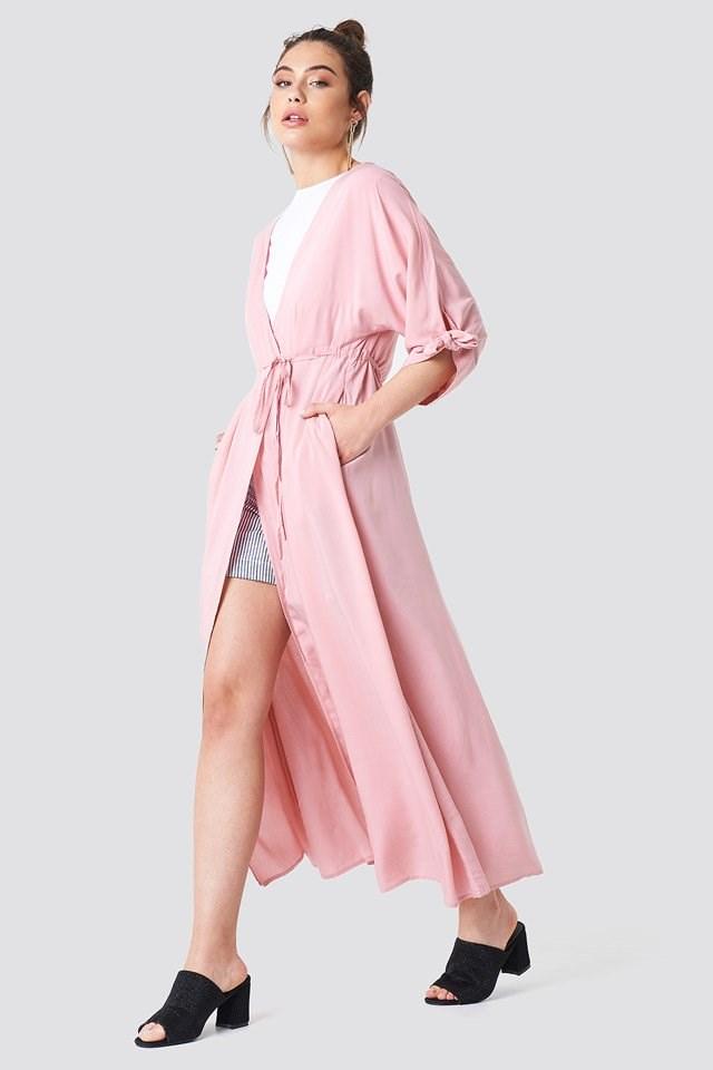 Tied Sleeve Coat Dress