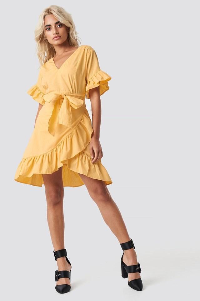 Tie Waist Frill Mini Dress
