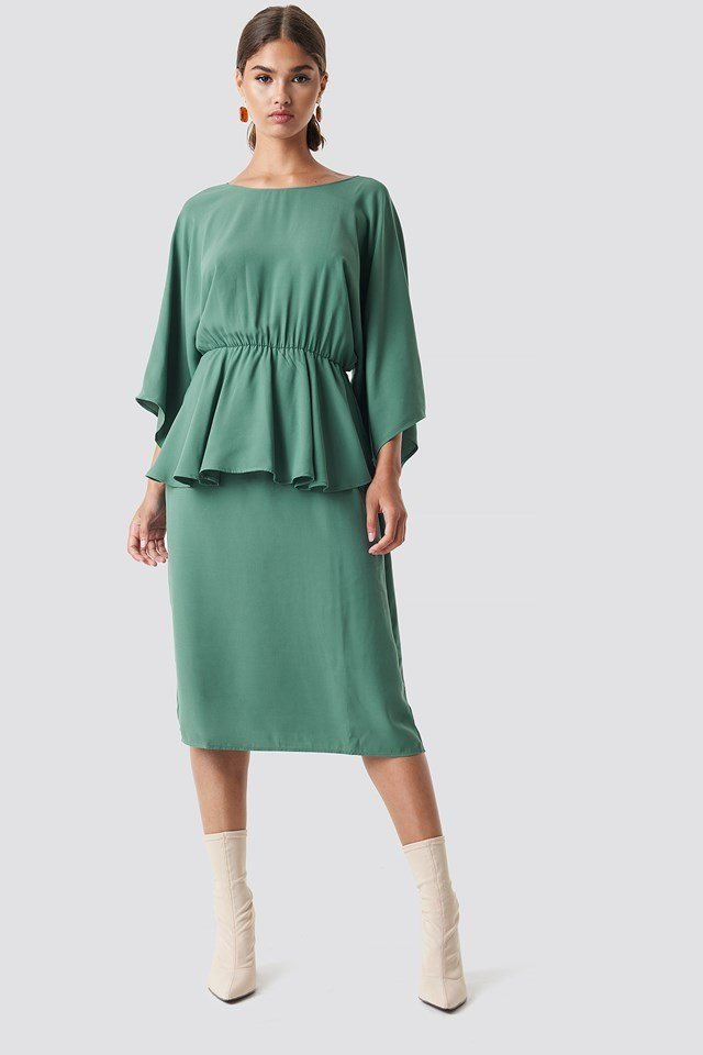 Deep Back Frill Midi Dress