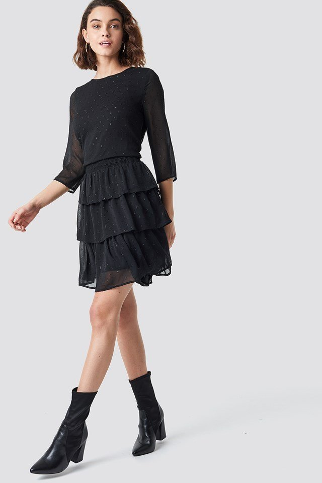 Glitter Dot Frill Dress Black