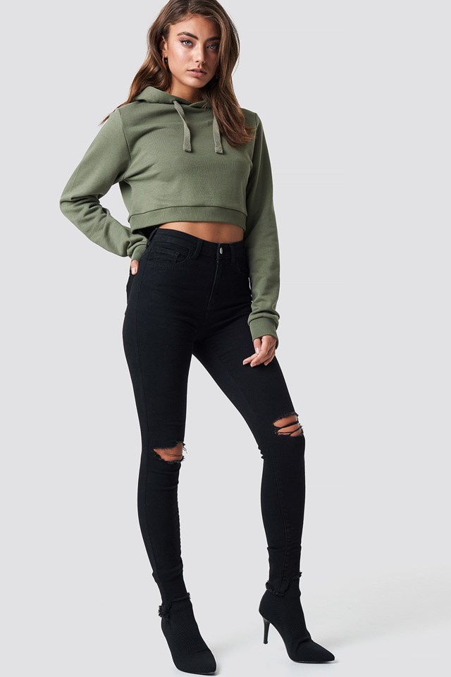 Cropped Rib Hoodie Outfit
