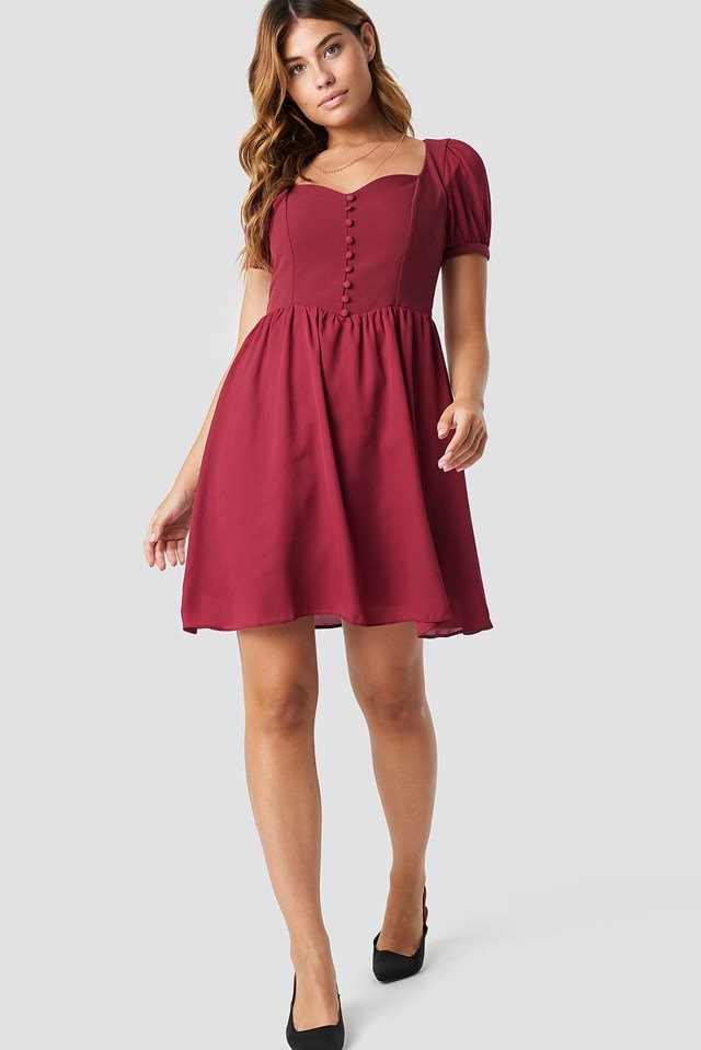 Button Detailed Mini Dress